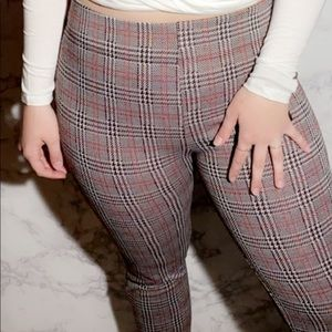 Brand new red white and black plaid pants